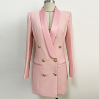 بريميوم نمط جديد أعلى جودة التصميم الأصلي المرأة أبازيم معدنية مزدوجة الصدر اللباس الكلاسيكية شال طوق السترة رأ نمط اللباس 5 اللون
