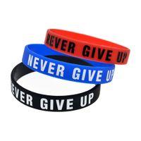 Mode Never give up Lettre bracelets en silicone pour femmes hommes inspirée Sports Wristband Bangle Bijoux Mode en vrac