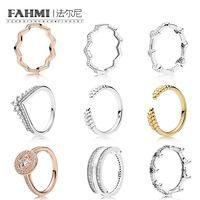 Fahmi 100% 925 Sterling Silver Shine Granos abiertos Anillos Rose Timeless Zig Zag Anillos Negro Enchanted Crown Ring Alouring Hearts Anillo