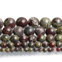 4/6/8/10 / 12mm Moda Aksesuar Mücevher 15 Yapımı İçin Doğal Ejderha Bloodstone Taş Boncuk Yuvarlak Gevşek Boncuk ''