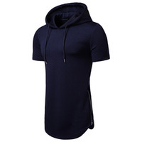 Top T- shirt hot sale 2019 hooded diamond shape long section ...