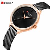Curren moda simples relógios de quartzo mulheres nova bracelete de couro de aço inoxidável pulseira de pulseira feminino relógio de presente