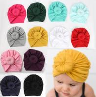 8 ألوان لطيف طفل الرضيع للجنسين الكرة العقدة الهندي العمامة أطفال الربيع الخريف قبعات الطفل دونات القبعة الصلبة لون القطن الشعر Hairband MZ04