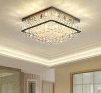 Современные туманные квадратные хрустальные потолочные люстра освещение роскошные хром-монтажные люстры светильники подвесные светильники для жилой столовой спальня фойе