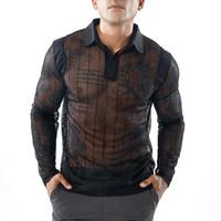 Мужская сетчатая прозрачная футболка-поло с длинным рукавом Ночная одежда с длинным рукавом Рубашки поло Футболка Men Party Perform Streetwear Топы 1616-B17