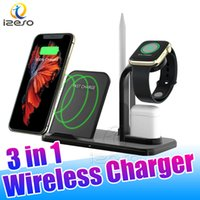 3 en 1 10W Qi Wireless Charger Dock Station Soporte de carga rápida para Airpods 2 Apple Watch iPhone 12 11 Pro Cargar Izeso