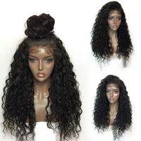 Sıcak Sentetik dantel ön peruk Isıya dayanıklı 1 parça Siyah derin dalga Saç Peruk Ücretsiz kargo