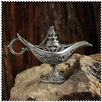 Home Decoration Vintage Style Fiaba Lampada magica Hollow Tea Pot Genie Lamp Drop Shipping