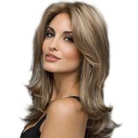 Kadın için 2019 moda gerçekçi ünlü peruk, uzun bukleler Doğal yüksek sıcaklık ipek saç sentetik örgü saç WIG-058A