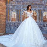 2020 princesa cordón de la vendimia de los vestidos de boda del vestido de bola atractivo del vestido novia hecho a mano elegante medio de la manga vestidos de boda Vestido de Noiva