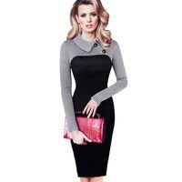 5bb892779 Vintage Long Sleeve Women Dress Patchwork Office Plaid Pattern Plus Size  Bodycon Dresses Pencil Elegant Ladies Clothing B238 J190601