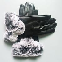 23 سنتيمتر * 10 سنتيمتر أزياء جلد أسود قفازات النساء الرجال في الهواء الطلق الرياضة الشتاء الدافئة الفاخرة قفاز خمسة أصابع يغطي