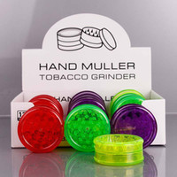 60mm 3-bitars plast örtkvarn med displaylåda 3 lager Pocket-sized akryl tobaksgvarn Muller Spice Crusher Rökning Tillbehör
