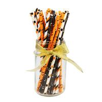 Matsal Bar Halloween Paper Straws Bulk Biologiskt nedbrytbar Engångsdryck Svart Vit Orange Bat Striped Ghost för Party Supplies JK1909