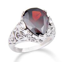 Nuovi accessori di arrivo anelli anelli anelli per donne e uomini splendidi gemme granato rosso fascino Topazio 925 anelli in argento R0344