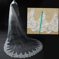 3M Catedral / 5m Comprimento Longo casamento véu completo Lace Borda Chefe Bridal Veil Acessórios velos de Novia Sem Comb Real Fotos