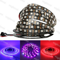 LED 스트립 빛 DC5V 개별적으로 어드레싱 할 수있는 WS2812B LED 스트립 라이트 화이트 / 블랙 PCB 30/60 픽셀 RGB 2812 LED 테이프 리본 방수 DHL
