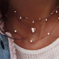 Tiny Heart moon and star Pendant Necklace Love Heart Collar Choker Necklace for Women Girl