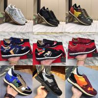 Los zapatos del diseñador de mujer con Knit-Stretch Rockrunner camuflaje Speed Triple Trainer Casual Botas de tacón grueso diseñador de la zapatilla de deporte de los zapatos ocasionales