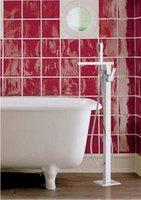 손으로 현대 솔리드 브래스 경감 화장실 크롬 싱글 핸들 플로어 스탠드 장착 욕조 탭 샤워 수도꼭지 004 샤워