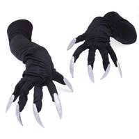 Gants Halloween horrible fantôme doigt osseux Squelette Griffe Imprimé à manches longues Lavable Manchettes Costume Effrayant Cosplay Décor