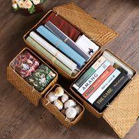 Groothandel Straw-geweven rotan opbergmand make-up organizer multifunctionele container met deksel zomer opbergdoos sieraden doos # 486