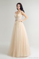 2020 Llegada Encanto Eleagnt Champange una línea de vestidos de baile paolo sebastian con encaje y tul vestidos de noche por encargo del vestido de Lx242