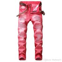 Moda Günlük Erkekler Hip Hop Biker Jeans Düzenli Straight Jeans Kırmızı Artı Boyutu 29-42 için Delik Jeans