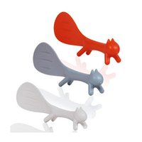 Promotional Wholesale Unique Lovely Animal Creative Rice Spoon Squirrel Shape Can Stand Non-stick Desk Plastic Rice Spoon DH0044