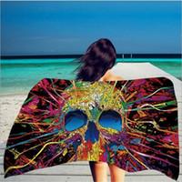 2020 nova impressão Praça 150 * 75 centímetros Toalha de Praia Cabeça de esqueleto Toalha Superfine Fiber com borla Soft Color DHL Free Hand 116