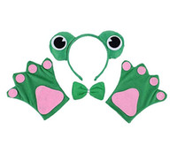 Märchen Frosch Stirnband Fliege Handschuhe Set Kinder Tier Haarband Pfoten Krawatte Party Cosplay Halloween Kostüm Kostüm Requisiten grün Favor