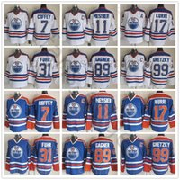 Vintage CCM Edmonton Oilers 7 Paul Coffey Jersey Hóquei 17 Jari Kurri 11 Mark Messier 89 Sam Gagner Grant Fuhr Bill Ranford Jerseys