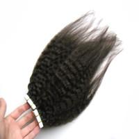8A Non Transformés Vierge Brésilienne Kinky Cheveux Raides Grossier Yaki Remy Extensions de Cheveux Double Bande En Extensions De Cheveux Humains PU Peau Trame 100G