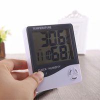 디지털 LCD 온도 습도계 가정용 정밀 시계 습도 측정기 온도계와 시계 달력 알람 배터리 DBC DH1373 강화