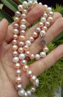 """Fine 9-10mm mar del sur blanco rosado púrpura collar de perlas multicolor 18"""" 14 k"""