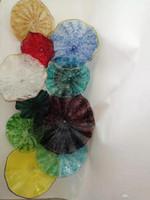 창조적 인 인기 벽 아트 유리 접시의 손 풍선 호텔 플레이트 벽 램프 현대적인 조명 장식 컬러 유리 잎 플레이트
