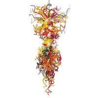 Moderna colorida de la mano de Murano soplado del vidrio cristalino del arte de la lámpara de luz grande llevada cristal colgante de lámparas pendientes
