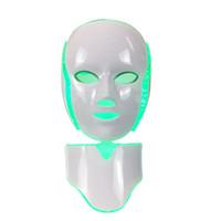 뜨거운 판매 LED 빛 치료 피부 회춘 led 목 마스크 7 색 피부 관리 홈 사용 무료 배송