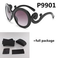 9901 Retro Marka Güneş Gözlüğü Eğrisi Tasarımcı Yeni Bayanlar Güneş Gözlükleri Kutusu ve Durumda Ücretsiz Kargo 3 Renkler