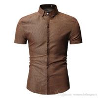 Düğme Kısa Kollu Elbise Modacı Günlük Gömlek Yaz Erkek Polka ile Dot Gömlek Erkek Yaka Boyun