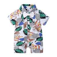 Bambini Designer Vestiti Ragazzi Pagliaccetto Papillon Floral Stampa floreale Bambini Tuta per bambini Baby Summer Pigiama Vestiti Hawaiian Style Vendita CZ526