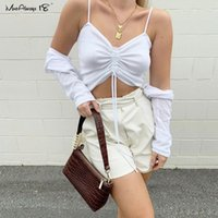 Mnealways18 Cordon de cordon blanc Camisole tricoté Femmes Sexy Spaghetti Strap Crop Top Summer Brown Brown Bustier Top Coton Camis occasionnels