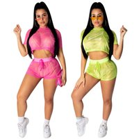 Sexy Tops manica corta + pantaloni Mesh Womens Two Piece Set Fashion Tute Sportive Casual Esegui set di Party Club