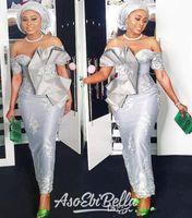 2020 Nova Aso Ebi Estilo Off The Shoulder Prom Vestidos de manga curta de prata Mermaid Tea Duração formal da ocasião Nigern Estilo Prom Dresses personalizado