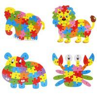 Puzzle en bois coloré Animaux Éléphant Lion Puzzle ABC Anglais Lettres Puzzles Alphabet Apprentissage Jouet Pour Enfants Enfants Cadeau