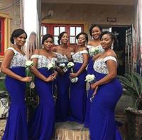 남아프리카 레이스 탑 로얄 블루 인어 신부 들러리 드레스 플러스 사이즈 저녁 댄스 파티 드레스 웨딩 게스트 가운 BD9080