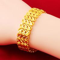 La geometria del braccialetto del polso della catena a maglia oro giallo 18K ha riempito di tendenza delle donne del Mens del braccialetto più largo 16 millimetri di spessore gioielli