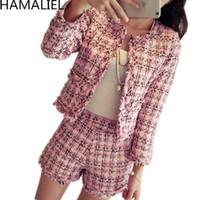 HAMALIEL S-XXL Plus Size Autunno Inverno Donne Tweed 2 piece set 2019 Moda Slim Pink Plaid nappa del cappotto del rivestimento + vestiti del bicchierino Y200110
