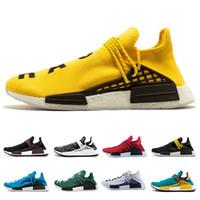 nmd human race pharrell nmd Hu trilha Amarelo Preto NERD Pharrell Williams Mens Sapatos de Corrida Das Mulheres Branco Vermelho Designer de Sapatilha Sapatos de Desporto OFF