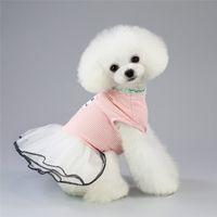 كوريا مخطط جرو كلب صغير فساتين ل كلب صغير الملابس القط الملابس الفاخرة الحيوانات الأليفة الكلب وتتسابق فتاة
